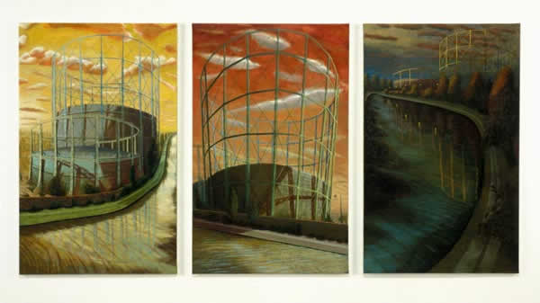 Kensal Rise Gas Holders: Sunrise, Midday and Evening    oil on linen    122 x 248 cm    1996