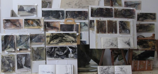 A collection of working drawings in the studio