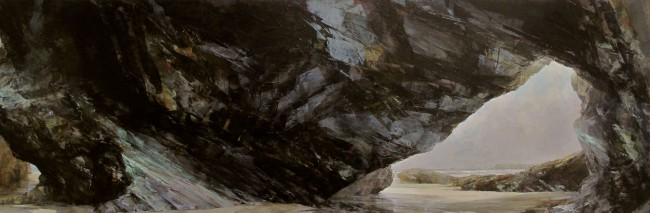 Sarah Adams, Polzeath to Pentire, oil on linen, 75 x 225 cm